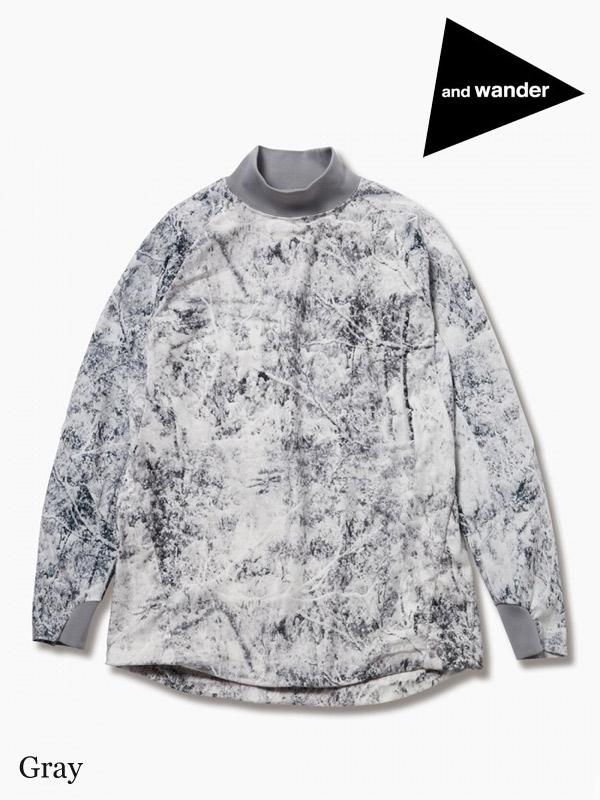and wander,アンドワンダー,women's white forest printed fleece base high neck T,ホワイトフォレストプリント フリースベース ハイネックT レディース