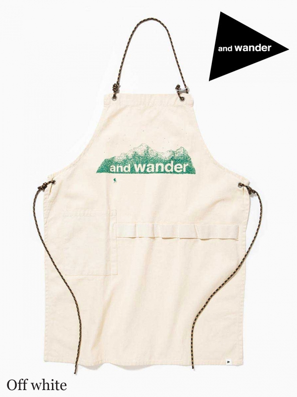 and wander,アンドワンダー,printed canvas apron,プリントキャンバスエプロン