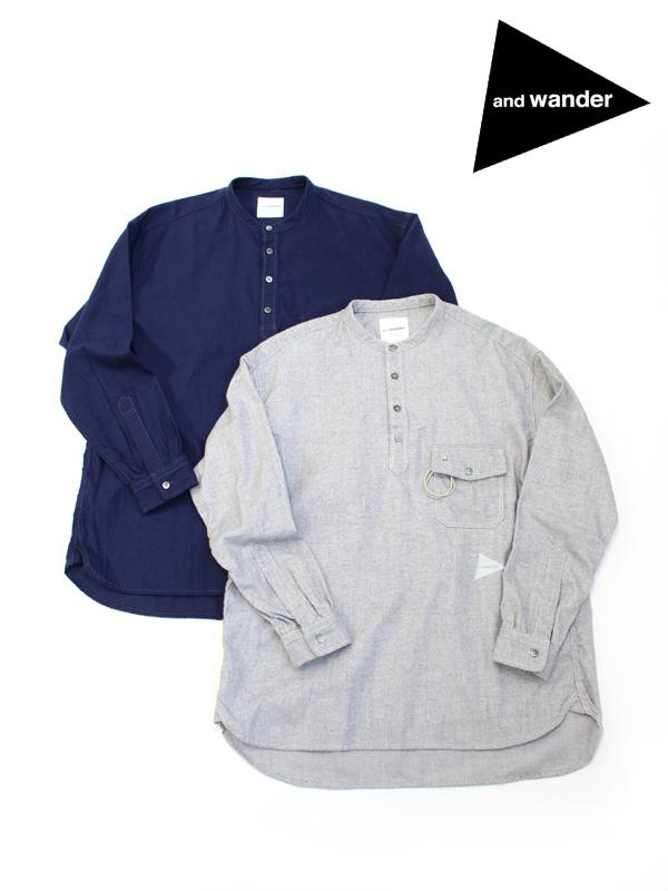 and wander,アンドワンダー,thermo nell stand collar shirt,サーモネル スタンド カラー シャツ