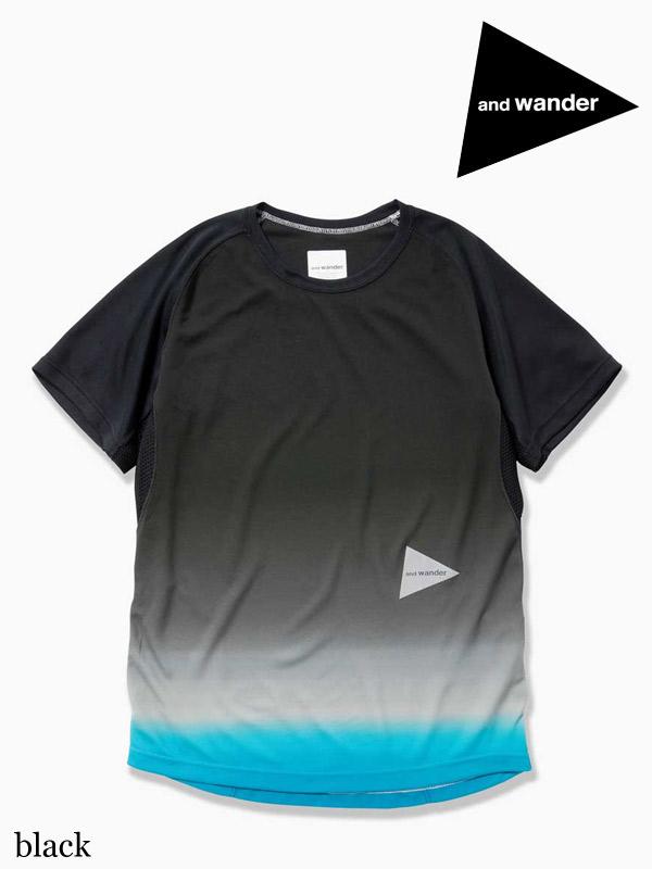 and wander ,アンドワンダー, gradient color raglan short sleeve T #black ,グラディエントカラー ラグランショートスリーブ Tシャツ