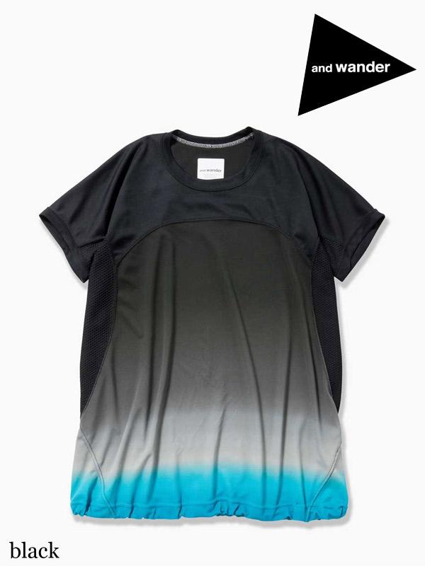and wander ,アンドワンダー, W's gradient color short sleeve T (W) #black ,グラディエントカラー ショートスリーブ Tシャツ (レディース)